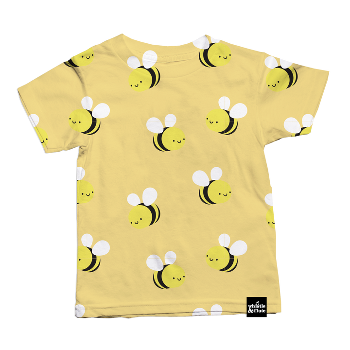 Kawaii Bee Allover Print T-Shirt