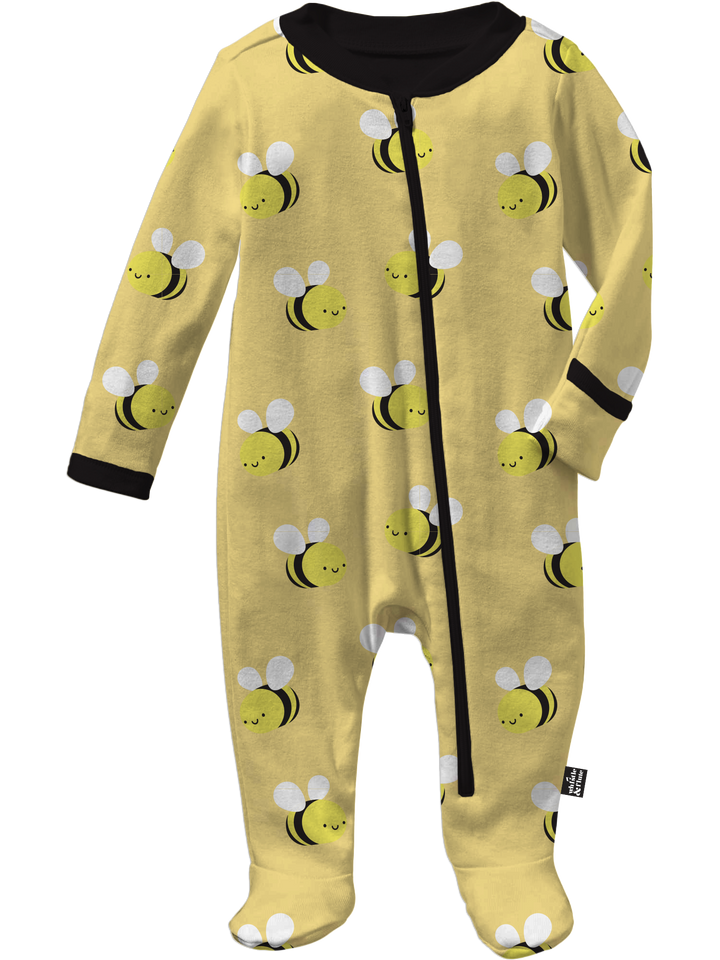 Kawaii Bee Allover Print Footed Sleeper