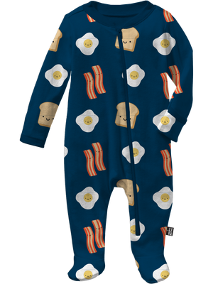 Kawaii Breakfast Allover Print Footed Sleeper (Navy)
