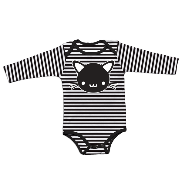 Kawaii Cat Striped Bodysuit