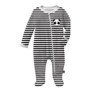 Kawaii Panda Footed Sleeper Striped