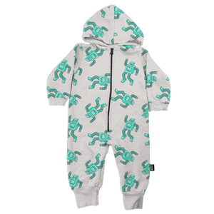 Robot Allover Print Hooded Romper