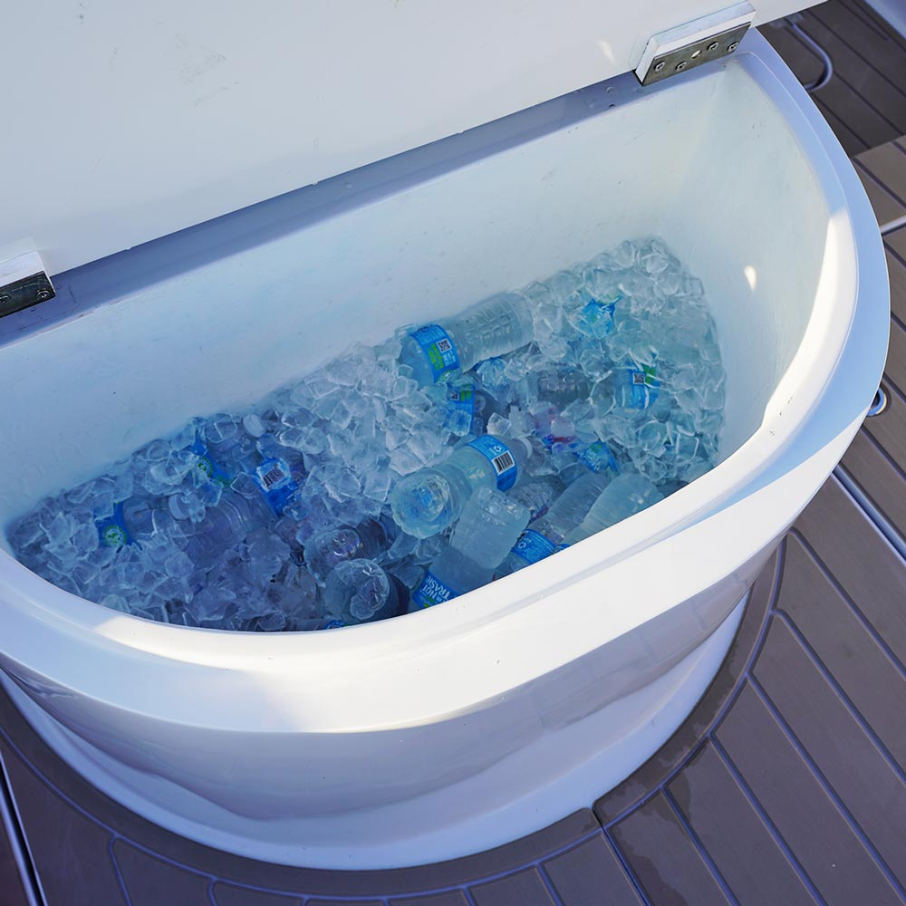 Keep Your Drinks Cool With Built In Coolers On The Vela 368 Catamaran