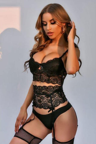 Black High Cut Sexy Open Back Lace Teddy