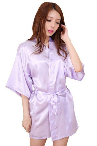 Soft Lavender Bridesmaid Wedding Ecstasy Satin Silk Robe