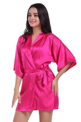 Hot Pink Bridesmaid Wedding Ecstasy Satin Silk Robe