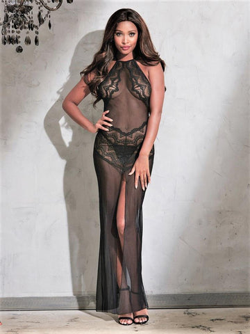 Long Black Lace Dreamgirl Lingerie Dress