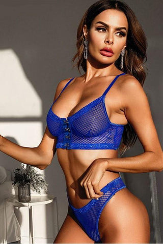 Naughty Blue Secret Hook Front Mesh Lace Lingerie Set