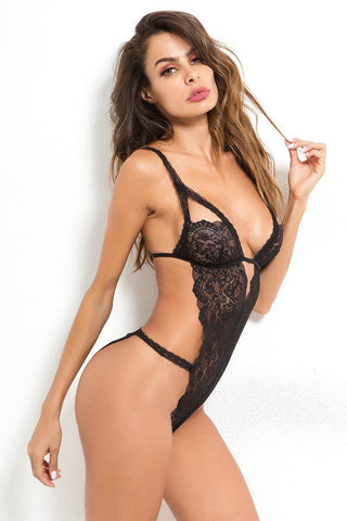Black Sexy Lace V-Neck High Cut One-Piece Teddy Lingerie