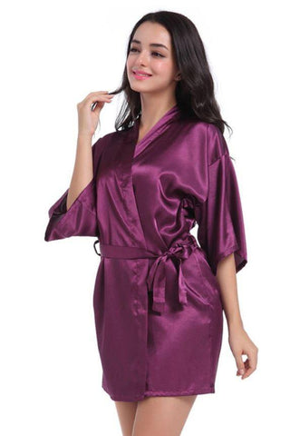 Dark Purple Bridesmaid Wedding Ecstasy Satin Silk Robe