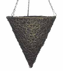Twisted Poly Weave Cone Hanging Basket 14''