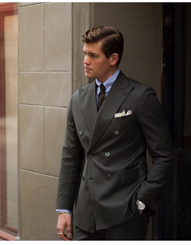 Double Breasted Suit with Tweed Tie and Dress Shirt
