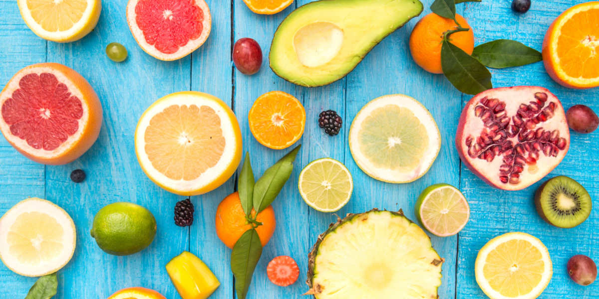 Colourful fruits on a blue background