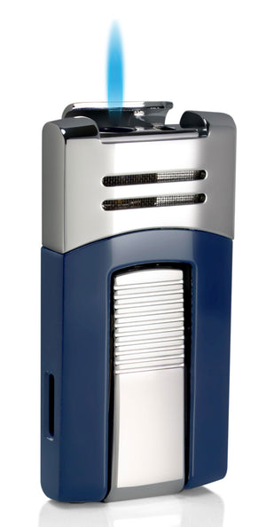 Caseti Corinth Blue and Chrome Single Flame Torch Lighter