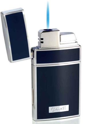 Caseti Troy Blue Lacquer Single Flame Torch Lighter