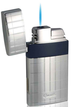 Caseti Troy Polished Chrome with Blue Single Flame Torch Lighter