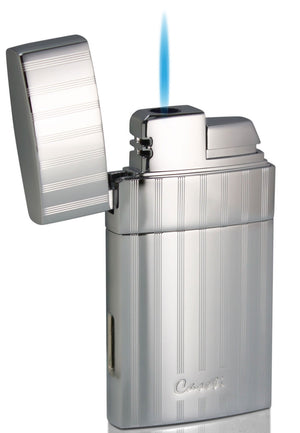 Caseti Troy Polished Chrome Single Flame Torch Lighter