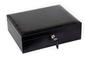 Black Leather Croco Pattern Airflow Humidor