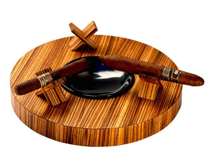 Deck Zebrawood Round Ashtray