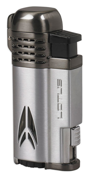 Lotus Defiant Twin Pinpoint Lighter with Punch - Chrome Satin &