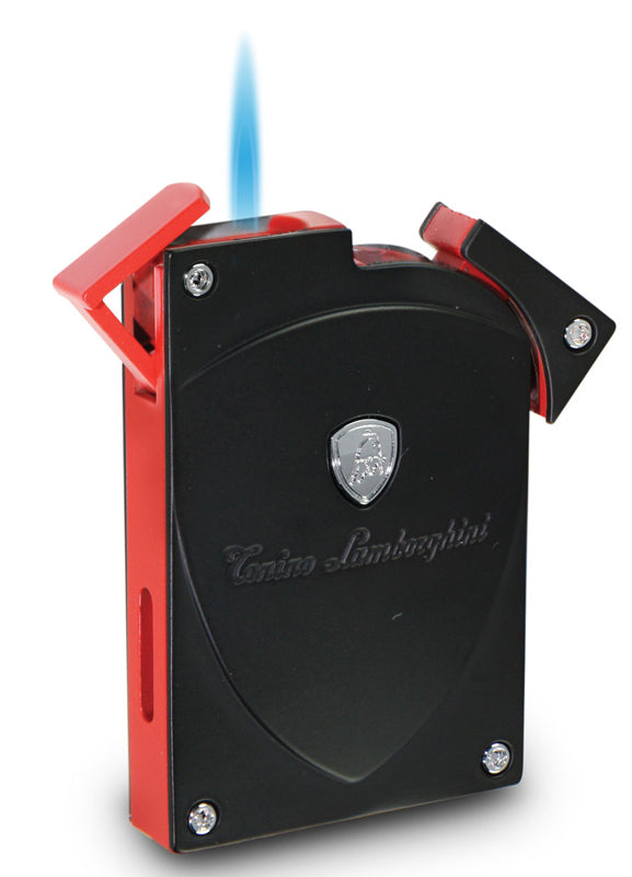 Tonino Lamborghini Lynx Matte Black and Red Torch Flame Lighter