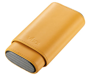 Burgos Yellow Leather Cigar Case - Holds 3 Cigars