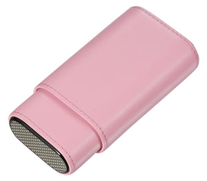 Visol Burgos Pink Leather Cigar case - Holds 3 Cigars