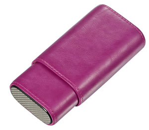 Visol Burgos Purple Leather Cigar case - Holds 3 Cigars
