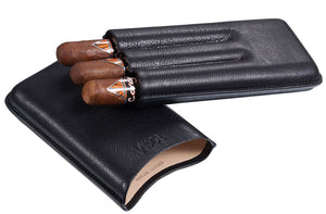 Legend Black Genuine Leather Case - Holds 3 Cigars
