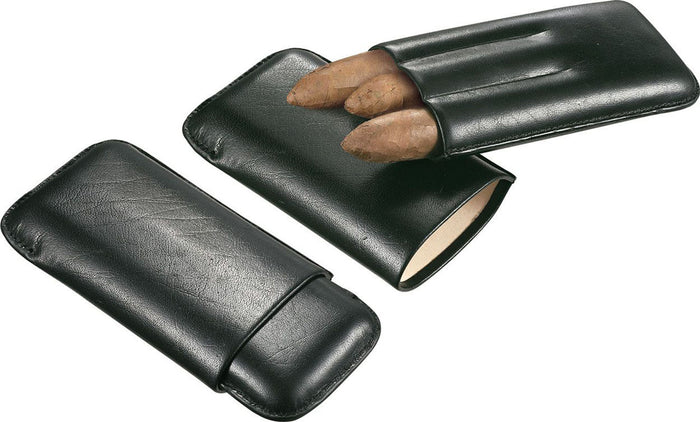 Trek Genuine Black Leather 3 Finger Cigar Case
