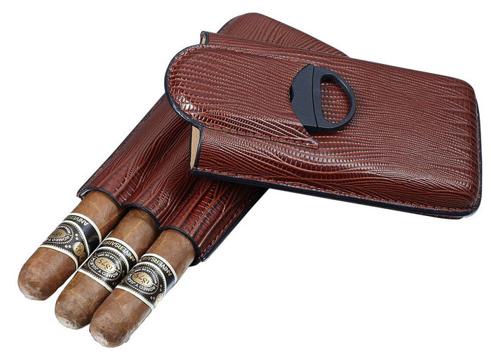 Granada Brown Leather 3 Finger Case with Cigar Cutter