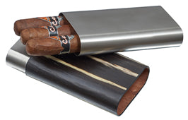 Carver Ashburl and Stainless Steel Cigar Case - 3 Cigars