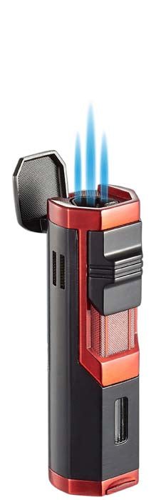 Visol Andes Triple Torch Cigar Lighter - Red and Black