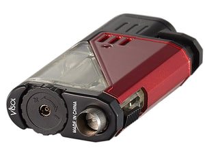 Visol Apollo Dual Torch Cigar Lighter - Clear w/ Red