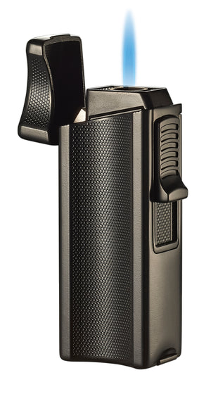 Visol Ridge Black Single Flame Torch Lighter with Cigar Rest