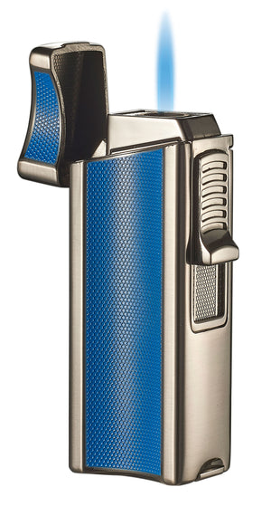 Visol Ridge Blue Single Flame Torch Lighter with Cigar Rest