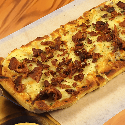 Cheesy Garlic Flatbread With Bacon