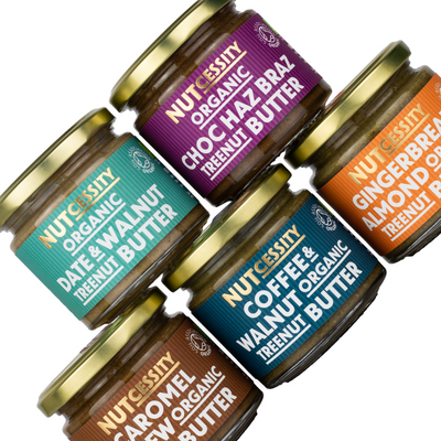 All 5 flavours of our organic, peanut-free nut butter. Made in the UK.