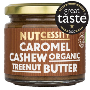 Nutcessity Organic Caromel Cashew Butter photo on brown background. Great Taste 2020.