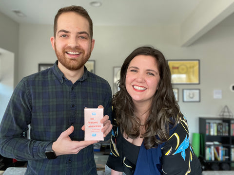 co-creators Paula Skaggs and Josh Linden with a deck of No Wrong Answers