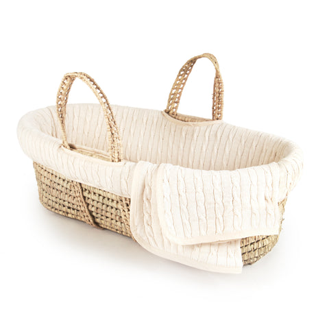 Tadpoles Moses Basket Cable Knit Natural
