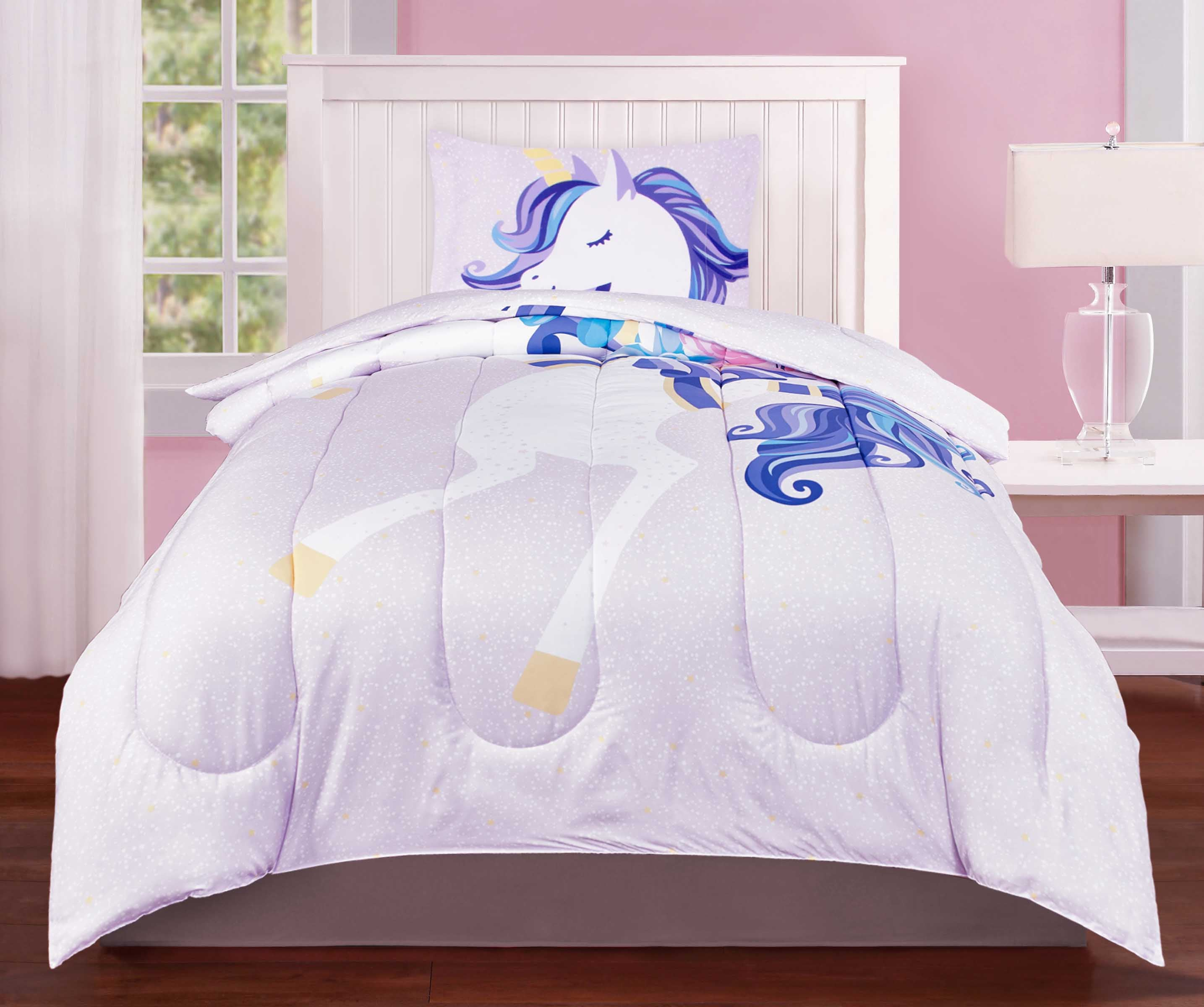 2 Piece Twin Character Bedding Set, Comforter & Pillowcase, Unicorn