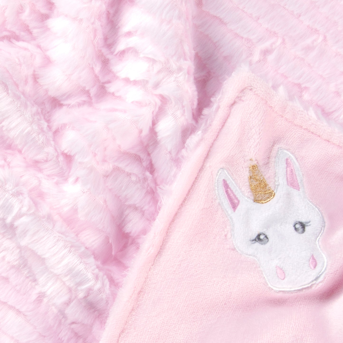 Tadpoles Unicorn Embroidered Ruffle Faux Fur Baby Blanket