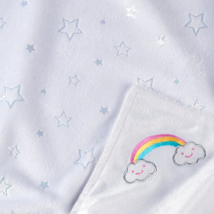 Tadpoles Rainbow Embroidered Double Layer Plush Baby Blanket