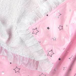 Tadpoles Silver Star Double Layer Plush Baby Blanket with Ruffle Trim
