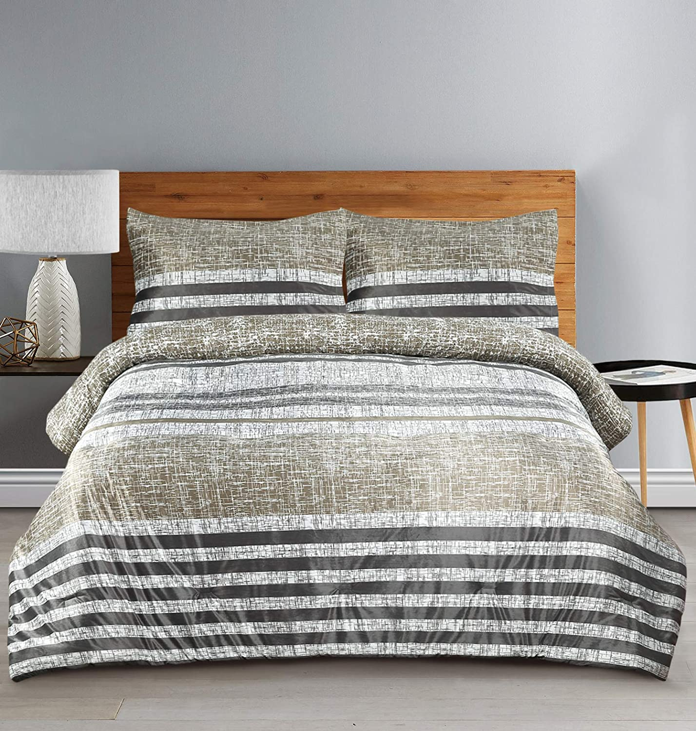 Muk Luks Earthy Stripe Comforter Set With Mink Front & Matching Shams, Taupe and Grey