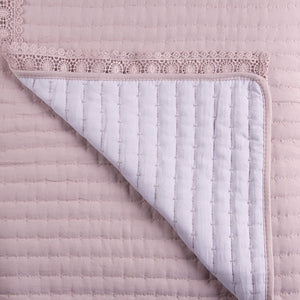 Muk Luks Pick Stitch Quilt Set With Crochet Trim & Matching Shams