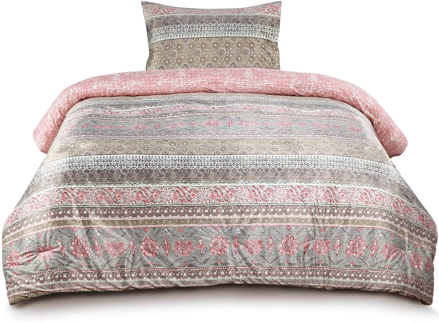 Muk Luks Global Floral Stripe Comforter Set With Mink Front & Matching Shams, Peach & Purple