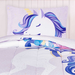 Load image into Gallery viewer, 2 Piece Twin Character Bedding Set, Comforter & Pillowcase, Unicorn