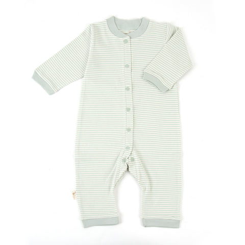Pinstripe Organic Footless Snap-Front Romper